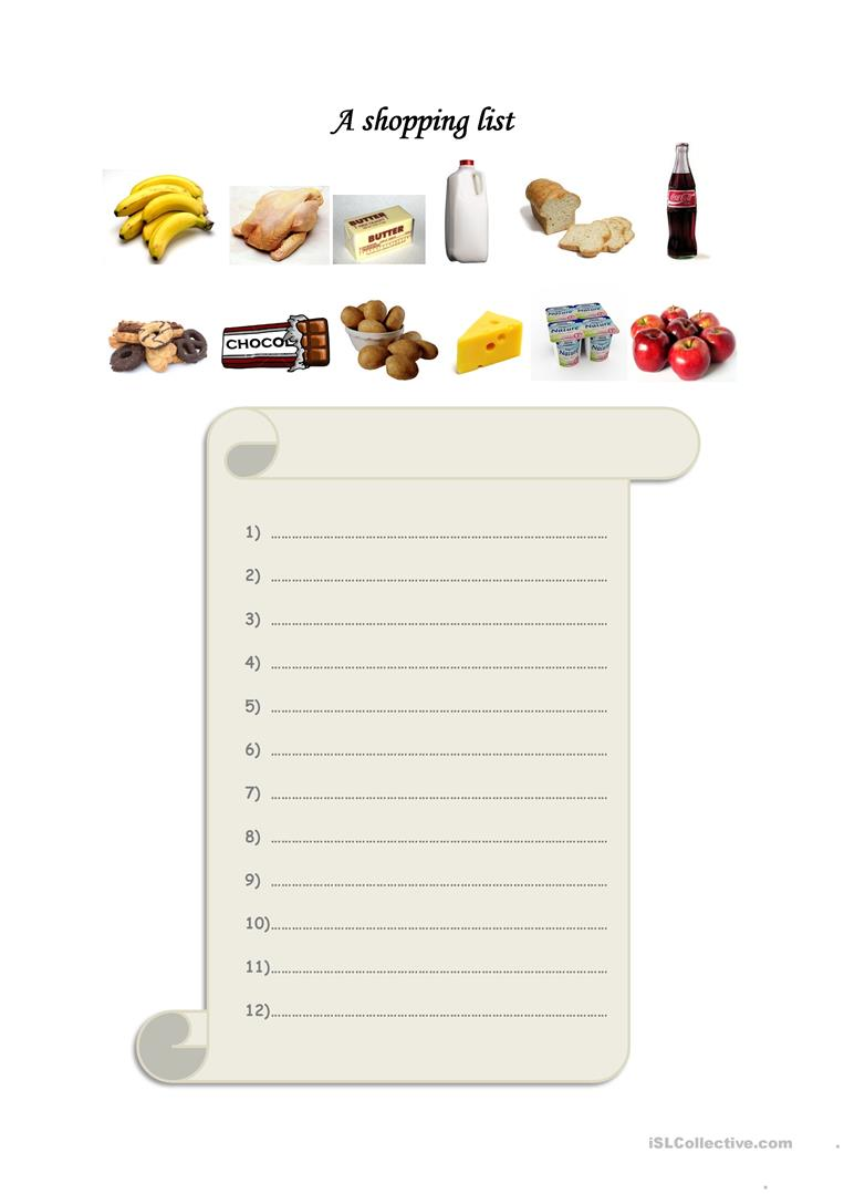 worksheet Grocery List Worksheet 27 free esl shopping list worksheets a list