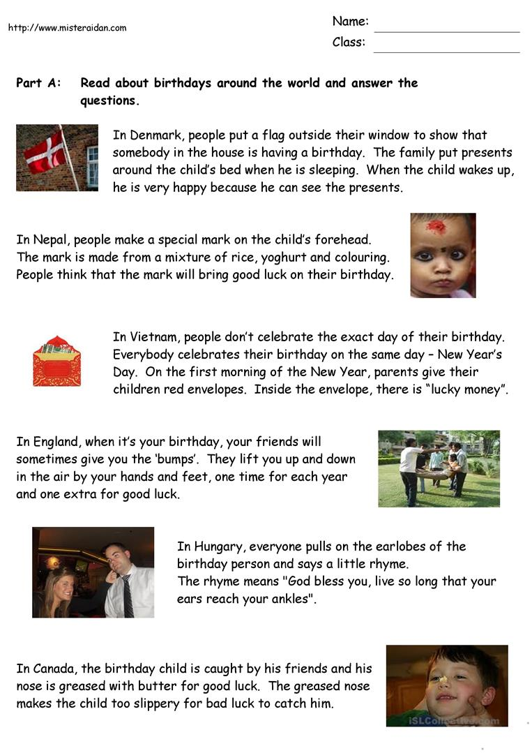 Birthdays Around the World - English ESL Worksheets