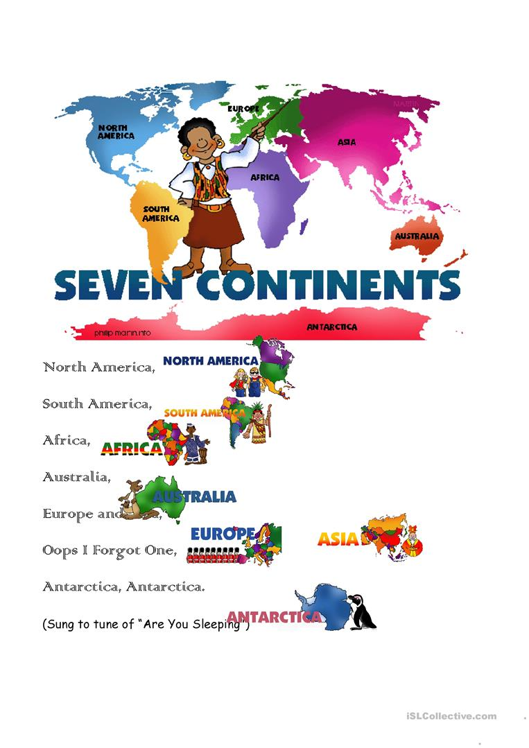 18 FREE ESL continents worksheets