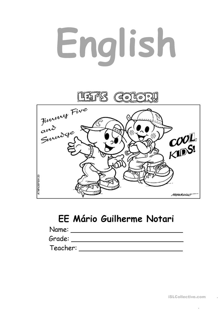 English Notebook Coloring Page Full Screen