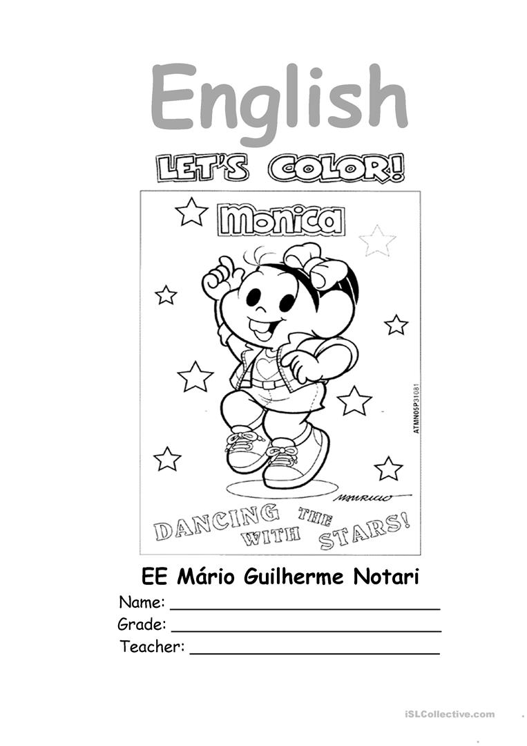 English Notebook Coloring Page Worksheet