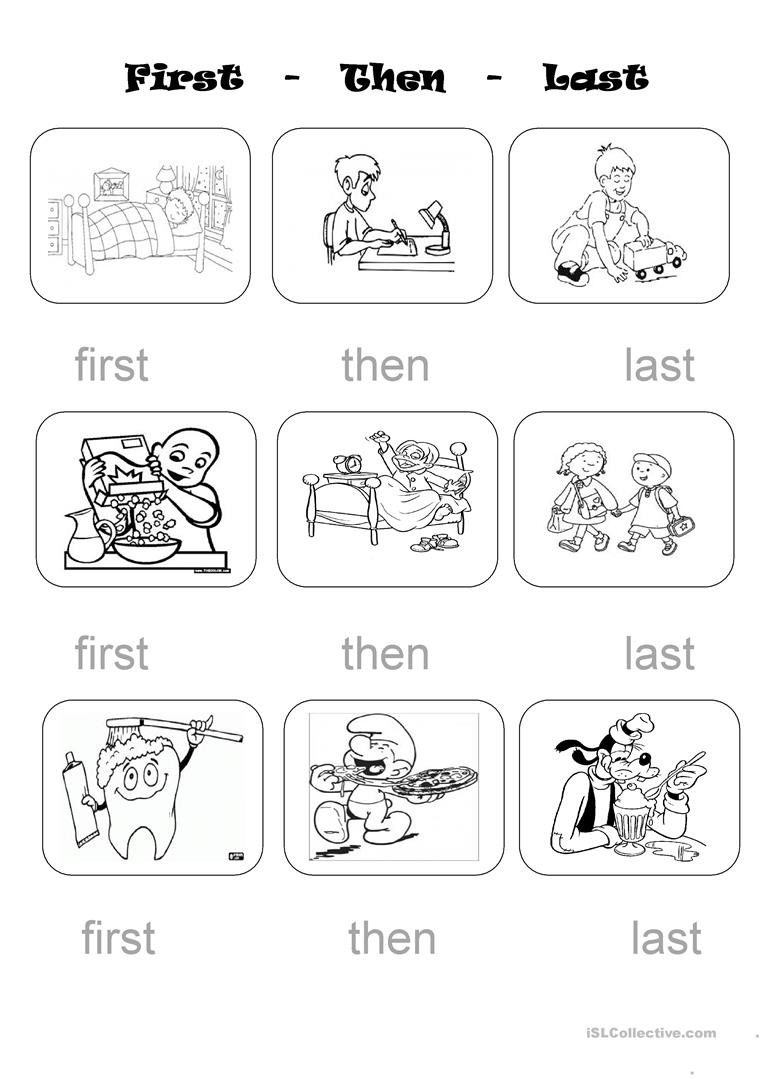 First, then and last - English ESL Worksheets