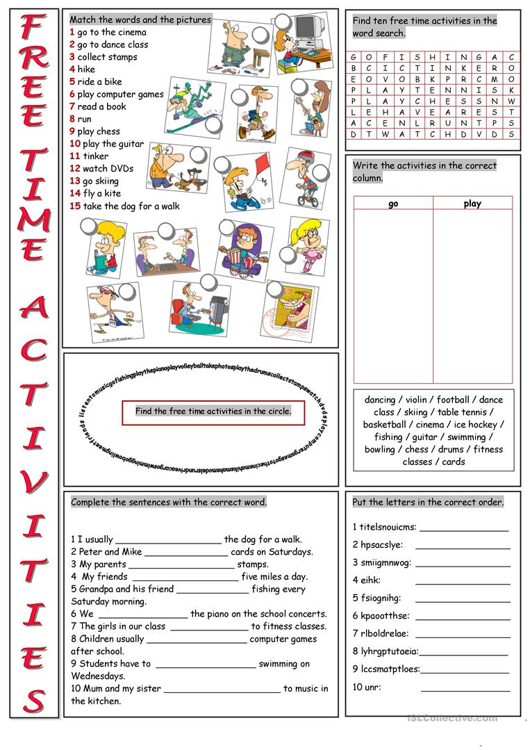 Free Time Activities Vocabulary Exercises worksheet - Free ESL ...