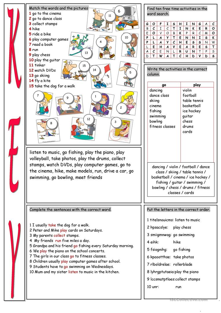 free time activities vocabulary exercises worksheet free esl printable worksheets made by teachers. Black Bedroom Furniture Sets. Home Design Ideas