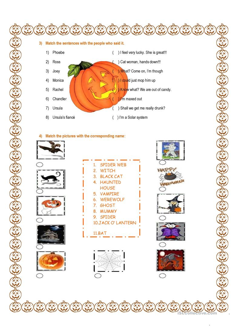 Friends TOW The Halloween Party Season 8 Episode 6 worksheet ...