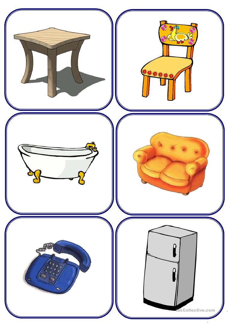 Furniture And Parts Of The House Flashcards Worksheet Free Esl