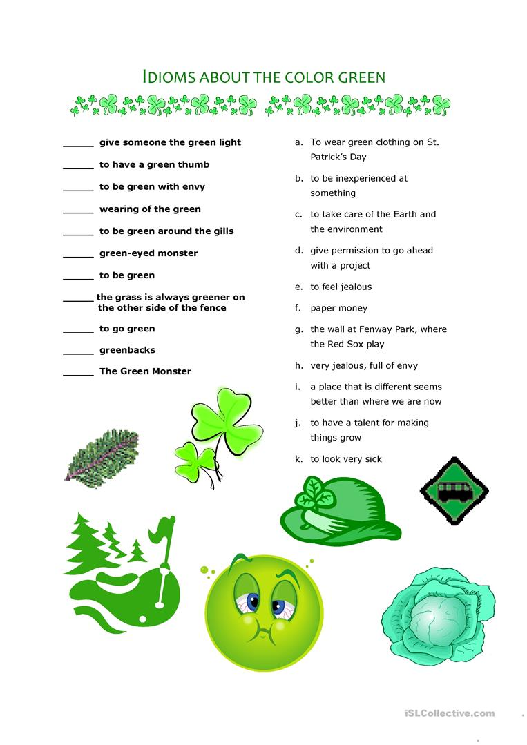 Idioms about the color green worksheet - Free ESL printable ...
