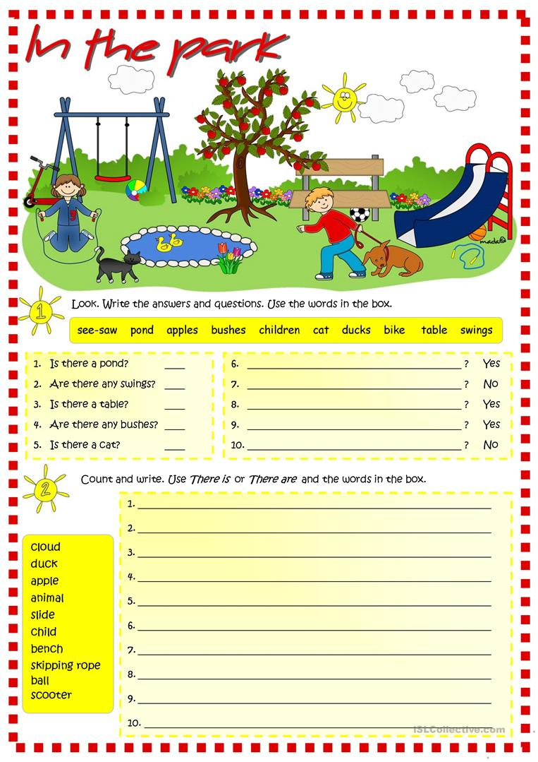 In the park there is there are worksheet free esl for There is there are pictures