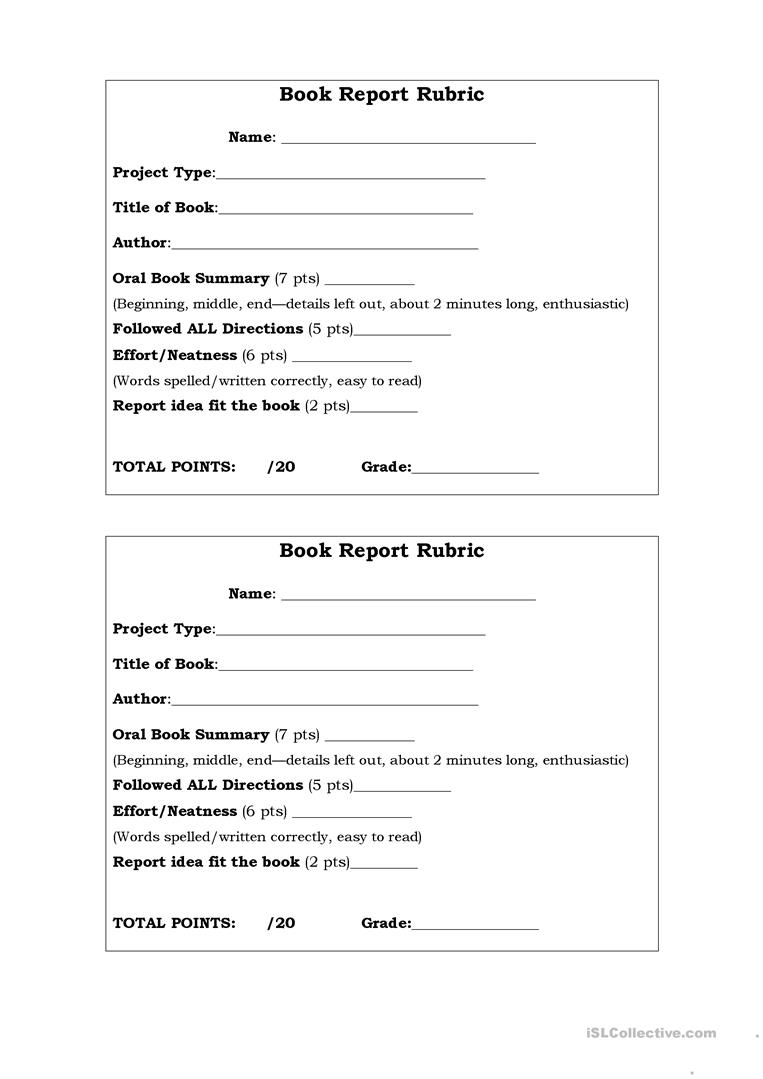 Oral BookRreport Rubric worksheet - Free ESL printable worksheets ...
