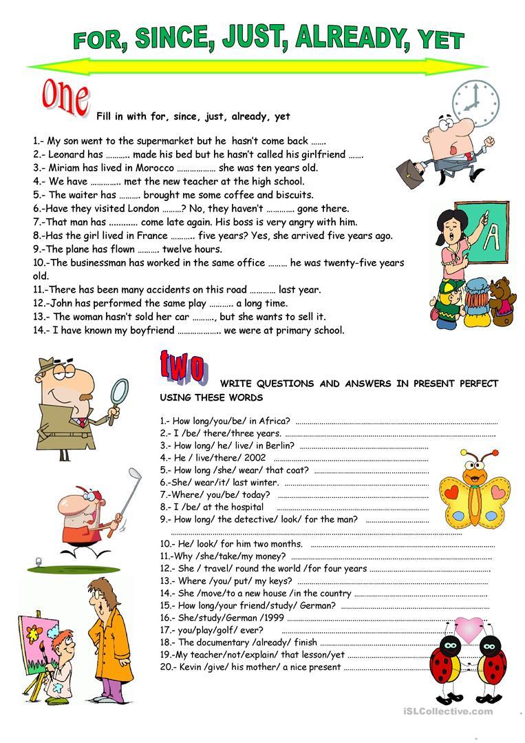 PRESENT PERFECTfor since just already yet worksheet Free – Present Perfect Worksheet