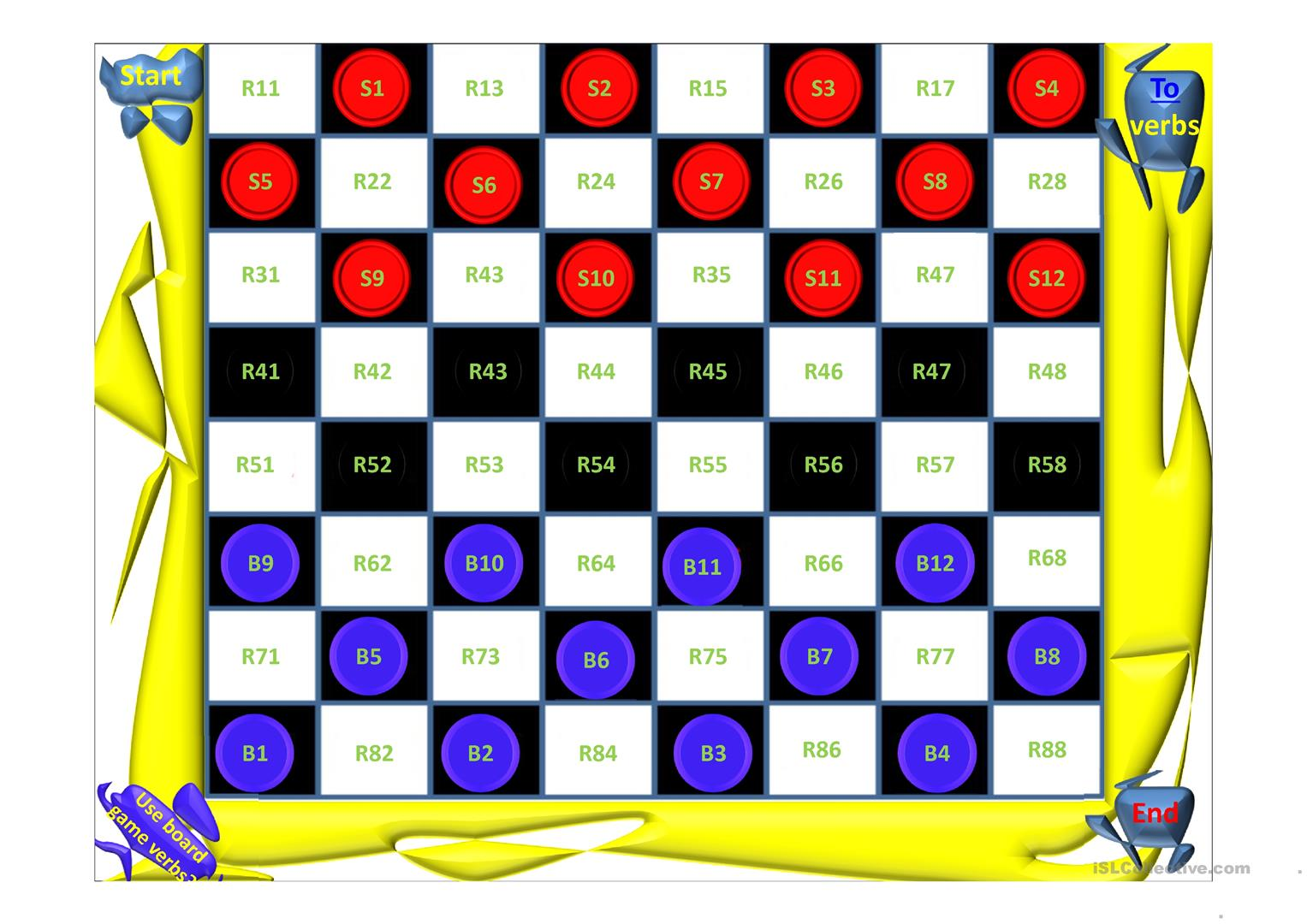 graphic about Printable Checkers Board known as Supply Straightforward Checkers Board Video game - English ESL Powerpoints