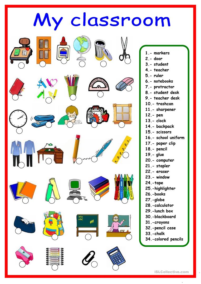 32 FREE ESL school supplies worksheets