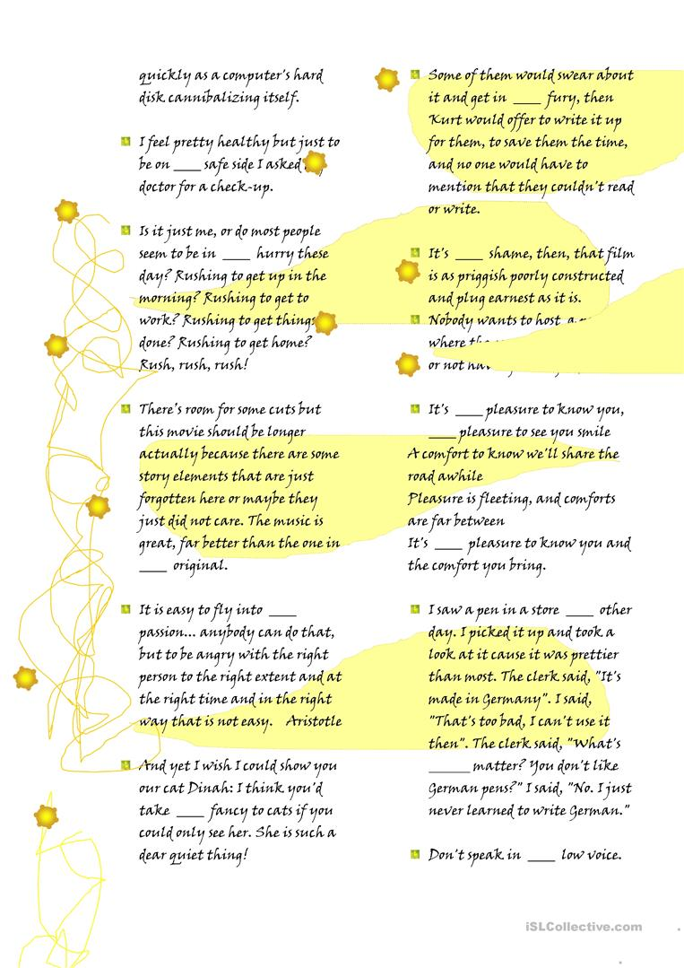 Set expressions with articles worksheet free esl printable full screen robcynllc Image collections