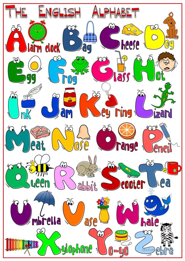 photograph about Alphabet Poster Printable named The English Alphabet - POSTER - English ESL Worksheets