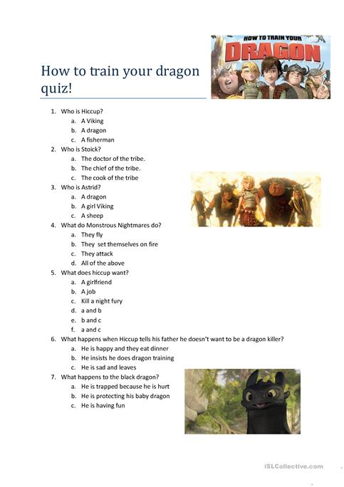 How to train a dragon movie quiz worksheet free esl printable how to train a dragon movie quiz ccuart Choice Image
