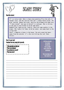 6 FREE ESL scary story worksheets