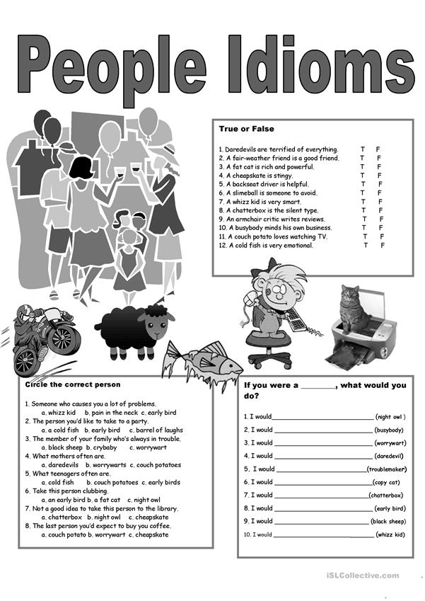 5 Page People Idioms + Vocabulary + KEY
