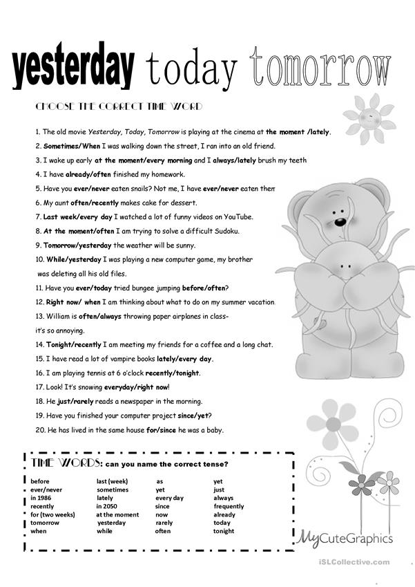 All Tenses Review + B&W + KEY