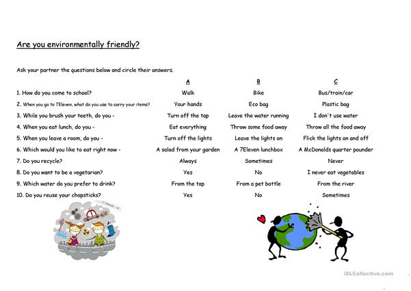 Are you environmentally friendly? - Questionnaire with answer key