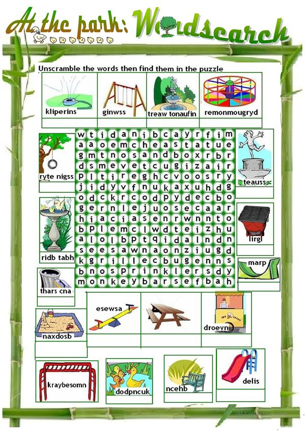 AT THE PLAYGROUND/PARK - WORDSEARCH