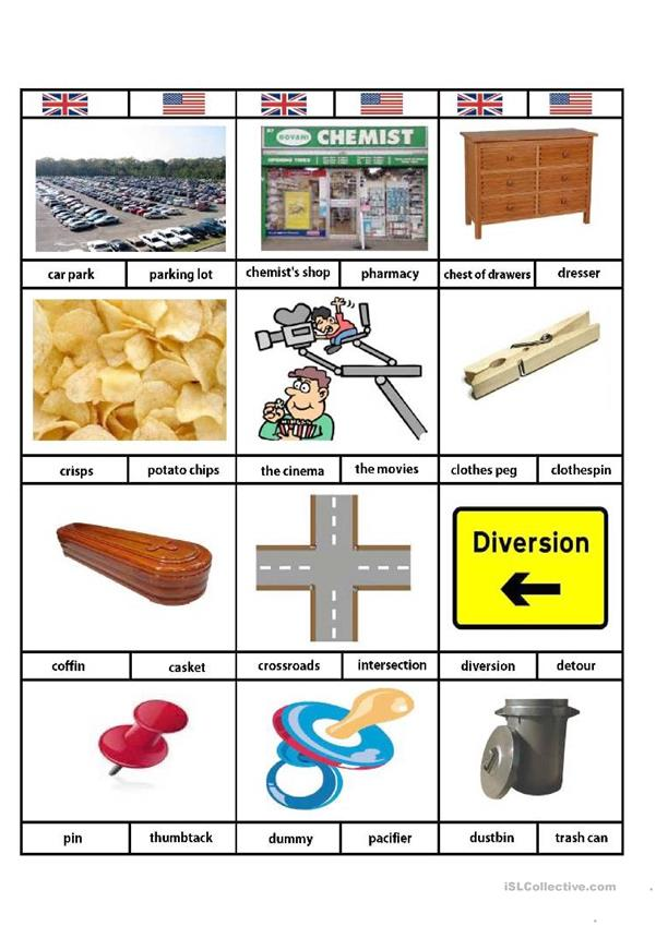 British English/American English Vocabulary