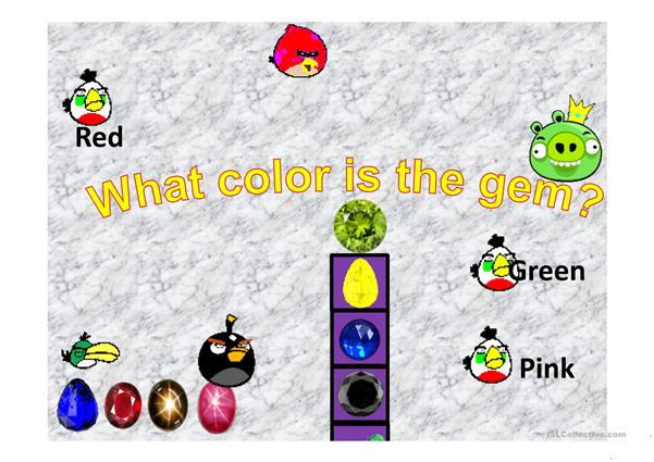 Colours Angry Bird Collect the Gems