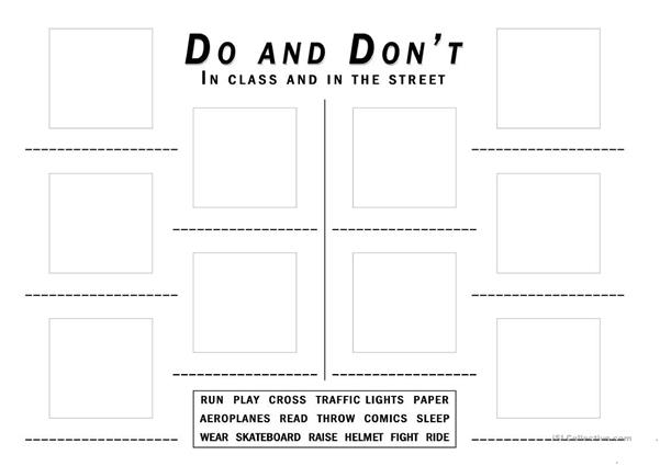 Do's and don'ts in class and in the street