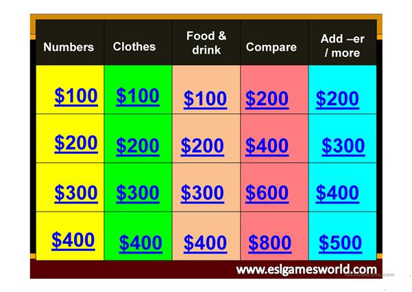 Jeopardy review clothes, numbers, comparative-food/drink