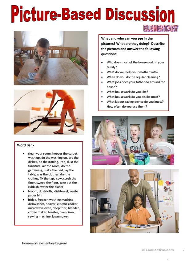 Picture-based discussion elementary - (5) Housework