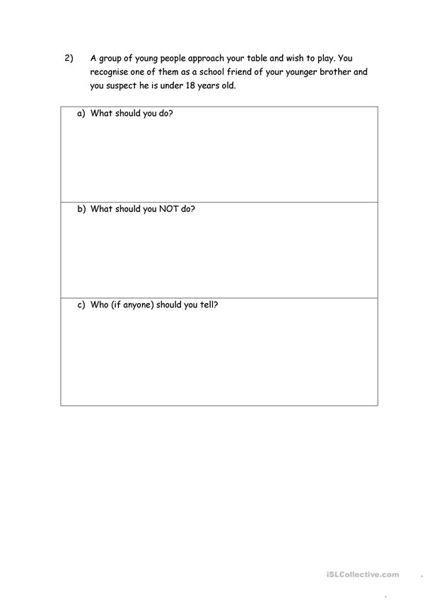 Responsible Gambling Scenarios Worksheet
