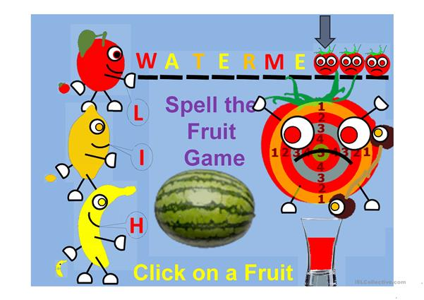 Spell the Fruit Gane and fill the glass Part 2