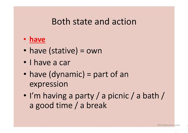 state verbs vs action verbes