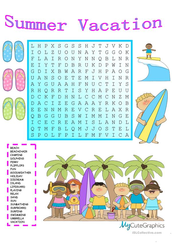 Summer Vacation Wordsearch with KEY