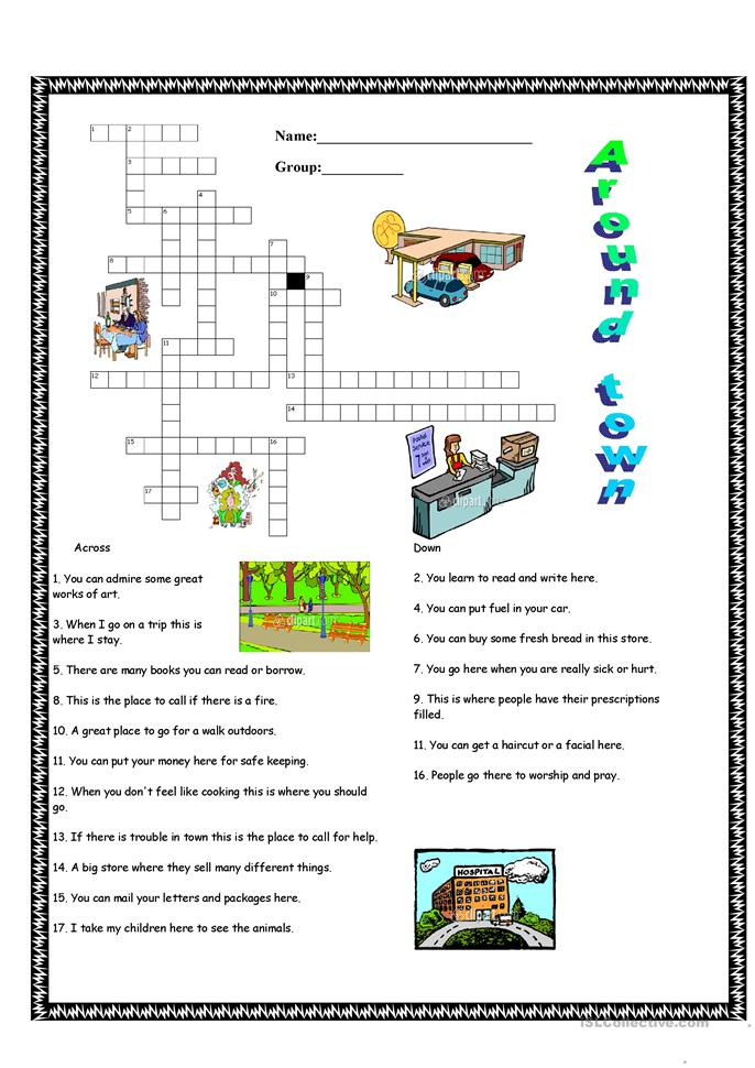 around town worksheet free esl printable worksheets made by teachers. Black Bedroom Furniture Sets. Home Design Ideas