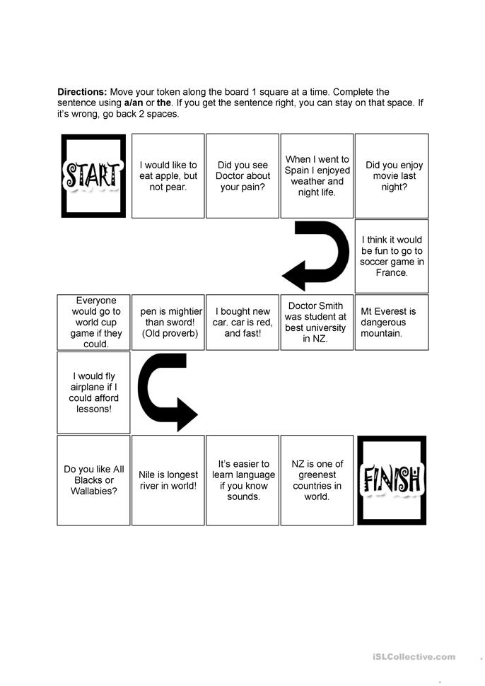 Articles board game - ESL worksheets