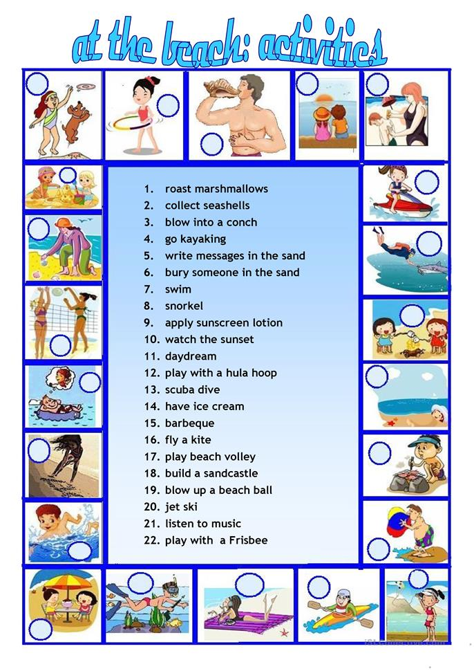 At the beach - Activities we do worksheet - Free ESL ...