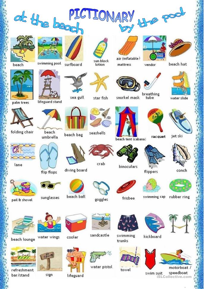 At the beach -Pictionary - ESL worksheets