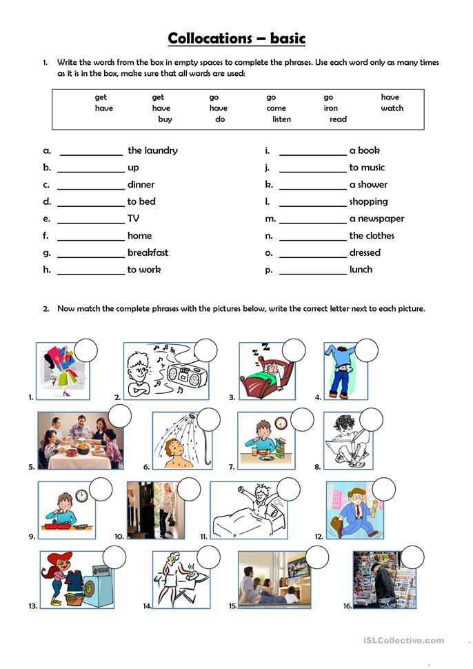 Basic collocations - ESL worksheets