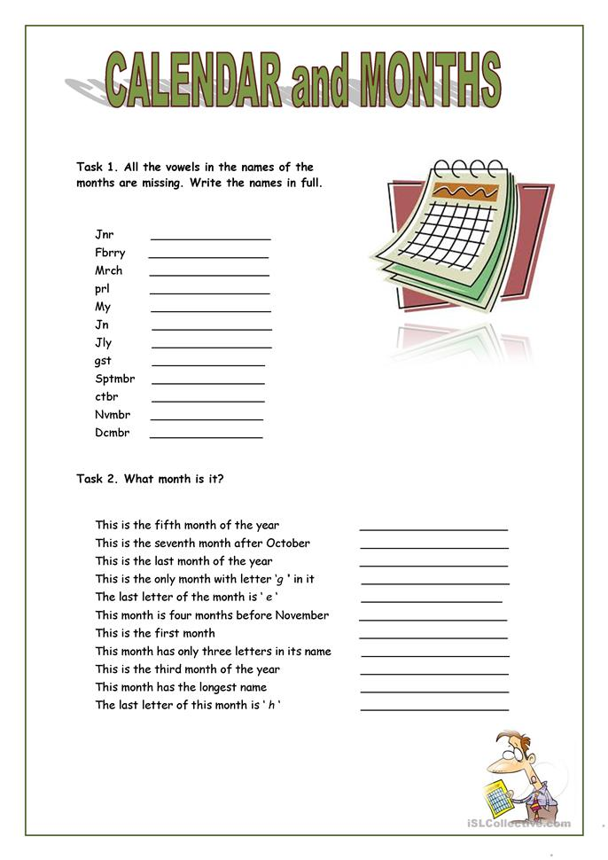 calendar and months - ESL worksheets