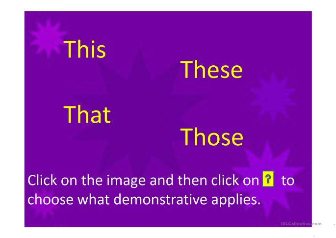 Demonstratives game - ESL powerpoints