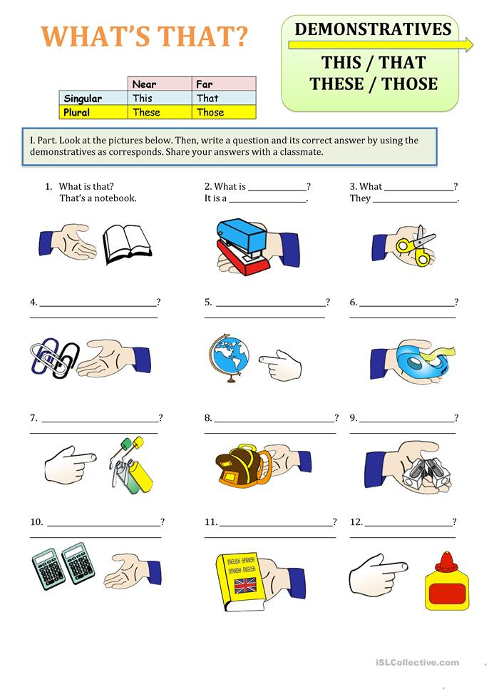 Demonstratives, this, that, those, these - ESL worksheets