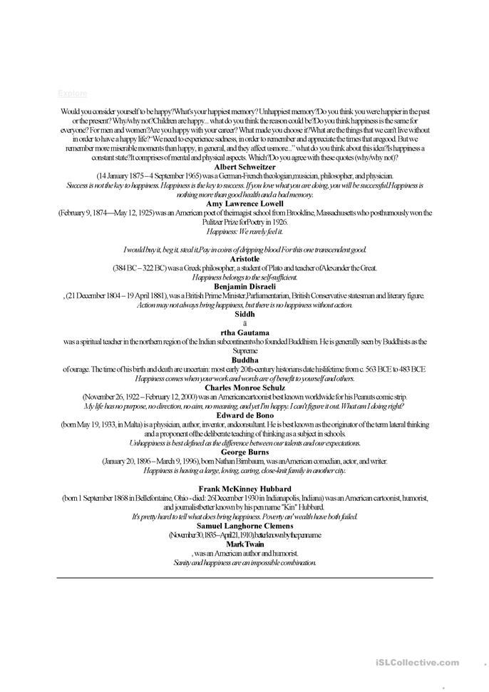 Happiness Worksheets - Rringband