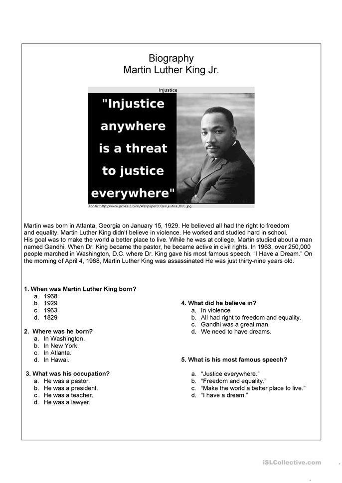 9 FREE ESL martin luther king worksheets – Free Martin Luther King Worksheets