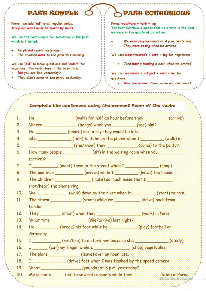 PAST SIMPLE OR CONTINUOUS - ESL worksheets