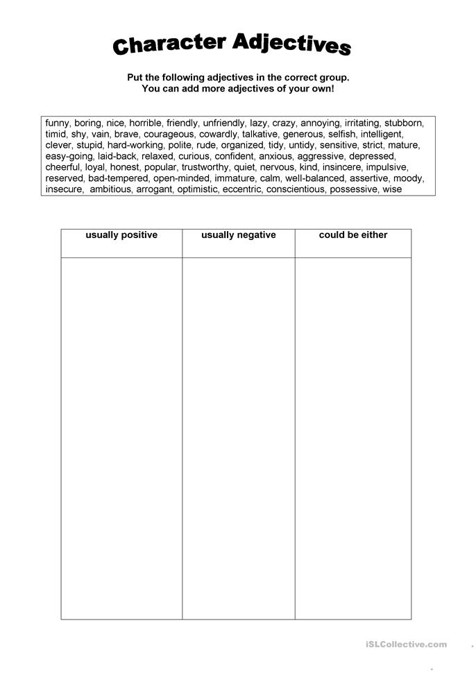 personality adjectives worksheet - Free ESL printable worksheets made ...