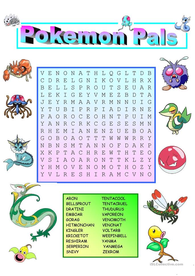 Pokemon wordsearch with key worksheet free esl printable for Free home search