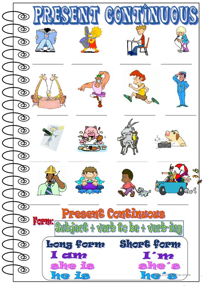 Present continuous- What are they doing? worksheet - Free ...