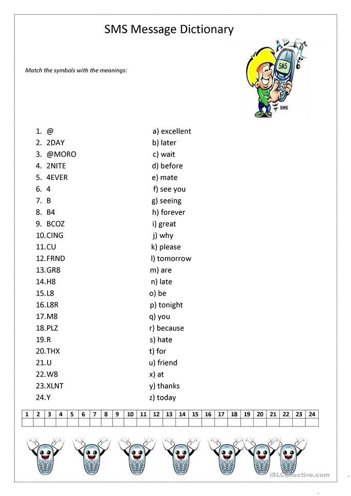 SMS Message dictionary - ESL worksheets