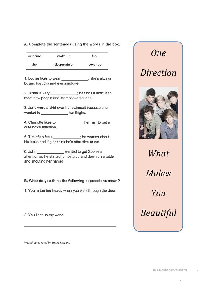 Song Worksheet: What Makes You Beautiful by One Direction - ESL worksheets