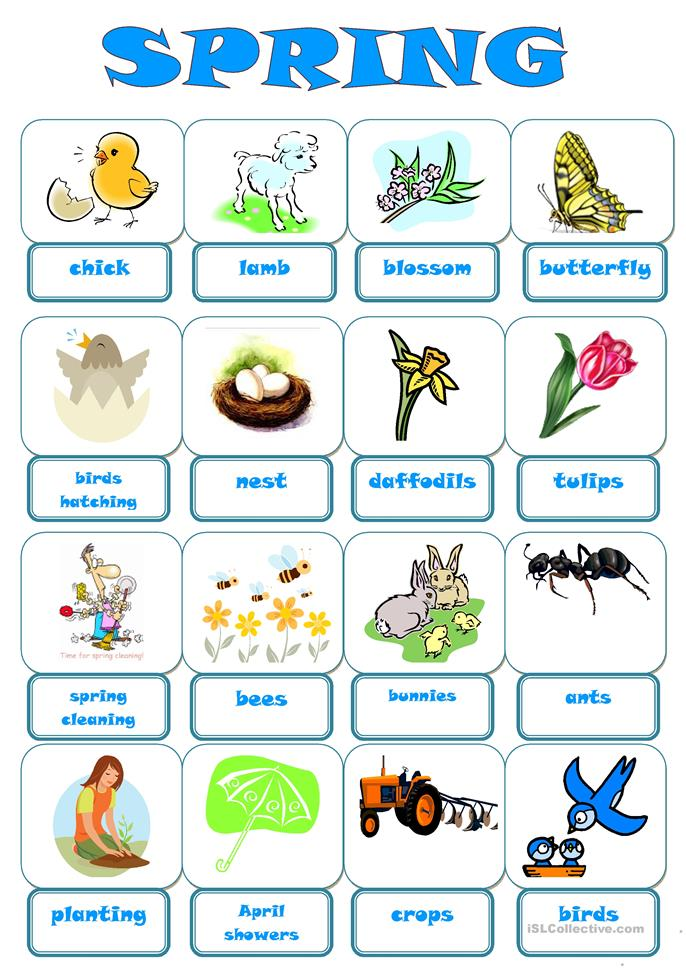 Spring English Worksheets : Free esl spring worksheets